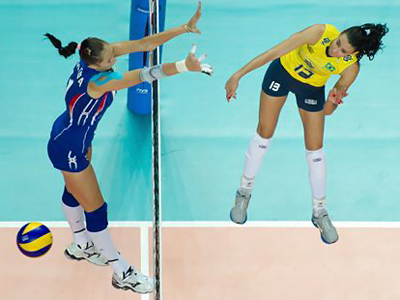Russia's Katya Gamova fails to cope with an attack from Sheilla of Brazil (Image from FIVB.org)