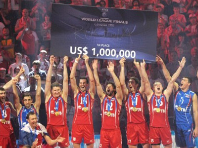 Russian volleyball team claim World League title