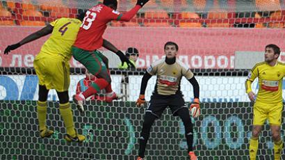 A match between Premier League football clubs Anzhi (Makhachkala) and Lokomotiv (Moscow) on November 11, 2012. (RIA Novosti / Syisoev)