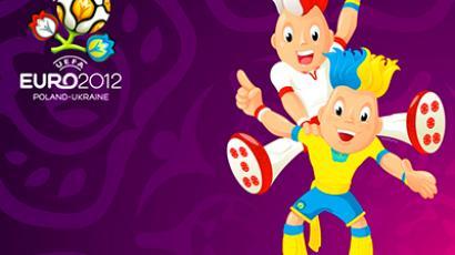 Twin football players, Slavek & Slavko, the Euro 2012 mascots