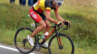 Belgian Philippe Gilbert rides during the Paris-Tours cycling race, on October 9, 2011 between Paris and Tours (AFP Photo / Alain Jocard)