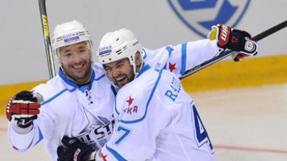 Team West's Ilya Kovalchuk, left, and Alexander Radulov before the 2013 Kontinental Hockey League All-Star Game between Team West and Team East.(RIA Novosti / Alexey Kudenko)
