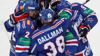 SKA players celebrate a goal scored in the Kontinental Hockey League regular season match between HC SKA St. Petersburg and HC Dynamo Moscow (RIA Novosti / Alexey Danichev)