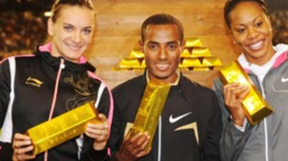 (L to R) Yelena Isinbayeva (Pole Vault),  Kenenisa Bekele (5 000m) and Sanya Richards (400m) share the jackpot of the Golden League meetings of the season (AFP Photo / Belga Photo Lefour-Jansens-Waem)