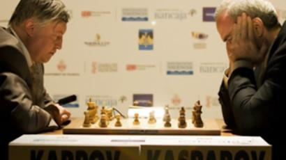 Garry Kasparov (R) and Anatoly Karpov in Valencia (AFP Photo / Jose Jordan)