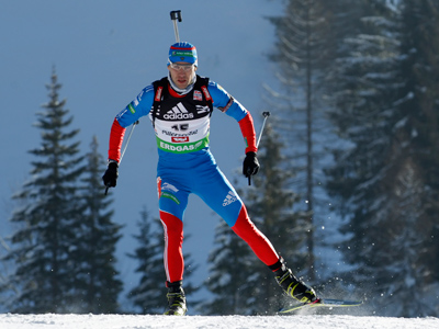 Andrey Makoveev of Russia competes in the men's 10km sprint at the Biathlon World Cup in Hochfilzen.(Reuters / Heinz-Peter Bader)