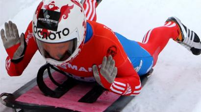 Russia's Elena Nikitina at the European Skeleton Championships in Igls, Austria (RIA Novosti / Vasily Ponomarev)