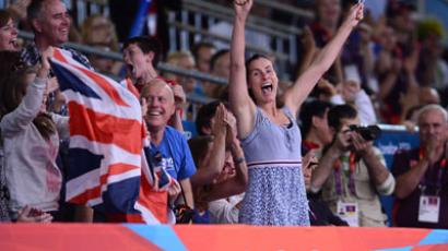 British fans celebrate the London Olympics (AFP Photo / Franck Fife)
