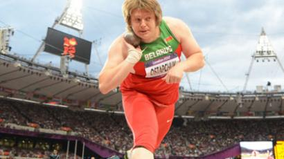 Belarus' Nadezhda Ostapchuk competes to win the women's shot put final at the athletics event of the London 2012 Olympic Games. (AFP Photo / Franck Fife)
