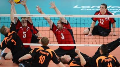 Russian sitting volleyball squad in Paralympic action (RIA Novosti/Iliya Pitalev)