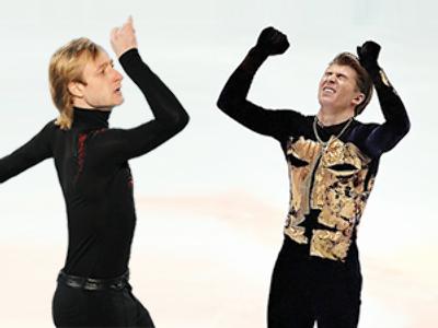Evgeny Pluschenko (L) and Aleksey Yagudin