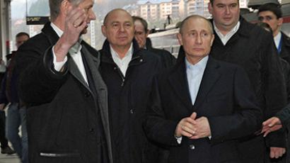 December 8, 2012. Russian President Vladimir Putin (center) inspects the new railway station built in Sochi for the 2014 Olympics after a trip on the electric train to Krasnaya Polyana. (RIA Novosti / Aleksey Nikolskyi)