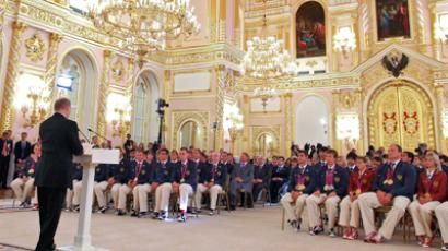 Russia's President, Vladimir Putin, addresses the country's Paralympians at a ceremny in the Kremlin (RIA Novosti / Mikhail Klimentyev)