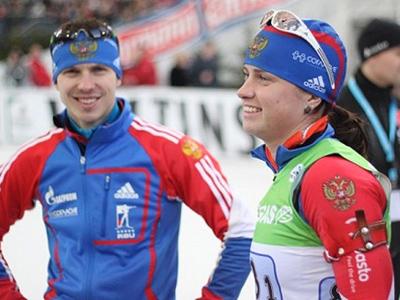Svetlana Sleptsova (R) and Evgeny Ustyugov (Photo from biathlonrus.com)