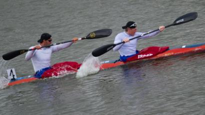 Russia's Alexander Dyachenko and Yury Postrugay during the K2 200m event at the 2012 ICF Canoe Sprint World Cup in Moscow (RIA Novosti / Alexander Vilf)