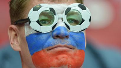 A Russian supporter is pictured prior to the Euro 2012 championships football match Poland vs Russia on June 12, 2012 at the National Stadium in Warsaw. (AFP Photo / Gabriel Bouys)