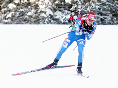 Russian biathlete grabs World Cup lead