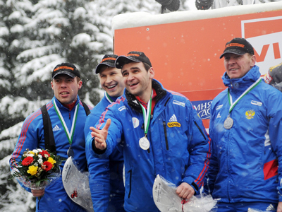 Sleighing them: Russian quartet grab bobsled World Cup