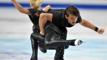 Russian pair Tatyana Volosozhar and Maksim Trankov performing at the European figure skating championships in Sheffield, UK (RIA Novosti / Vladimir Pesnya)