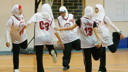 Saudi Arabian female basketball team in training (Image Photo acelebrationofwomen.org)