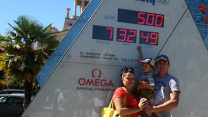 The countdown clock shows 500 days before the opening of the 2014 Winter Olympics in Sochi. (RIA Novosti/Mikhail Mokrushin)