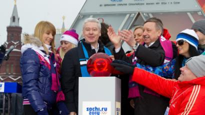 The Sochi 2014 Olympics countdown clock launch ceremony at Moscow's Manezhnaya square. (RIA Novosti / Denis Grishkin)