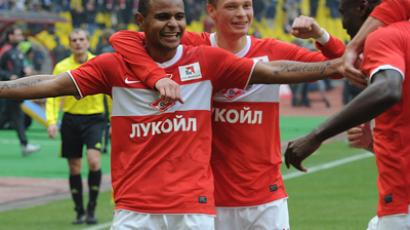 Spartak Moscow's Ari, Evgeny Makeyev and Emmanuel Emenike celebrate a goal scored against Rubin Kazan in the Russian Football Premier League's round 39 match (RIA Novosti / Vladimir Fedorenko)
