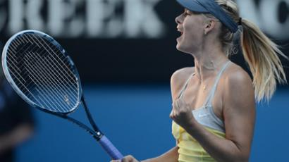 Russia's Maria Sharapova celebrates after beating Russia's Ekaterina Makarova at the Australian Open (AFP Photo / Manan Vatsyayana)