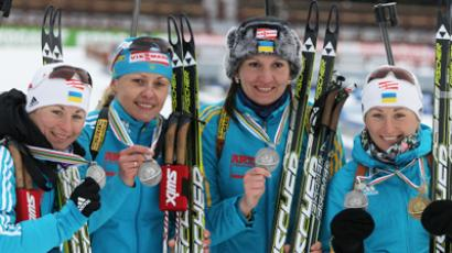 The Ukrainian women's biathlon relay team of (from left to right) Vita Semerenko, Oksana Khvostenko, Alyona Pidrushina and Valentina Semerenko (RIA Novosti / Valery Melnikov)