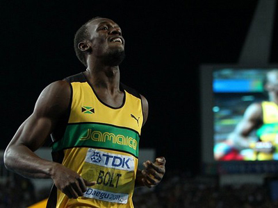 Usain Bolt of Jamaica celebrates claiming gold in the men's 200 metres final during day eight of the 13th IAAF World Athletics Championships at the Daegu Stadium on September 3, 2011 in Daegu, South Korea (AFP Photo / Getty Images)