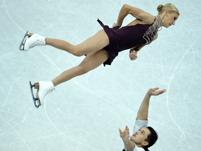 Russia's Tatyana Volosozhar and Maxim Trankov perform their short program at the ISU Grand Prix of Figure Skating Final in Sochi on December 7, 2012. (RIA Novosti / Alexander Wilf)