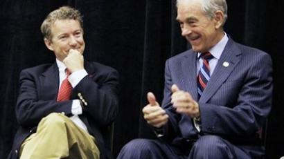 Republican U.S. Senate candidate Rand Paul, left, enjoys a light moment with his father U.S. Rep. Ron Paul, R-Texas (Photo from daylife.com)
