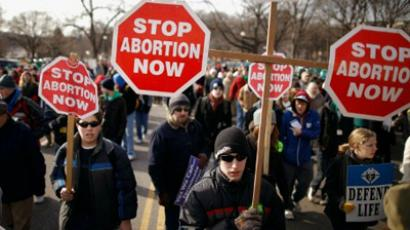 Tens of thousands of anti-abortion demonstrators march. (Chip Somodevilla/Getty Images/AFP)