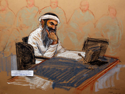 In this courtroom drawing reviewed and approved for release by a US military security official, Khalid Sheikh Mohammed sits in court.(AFP Photo / Janet Hamlin)