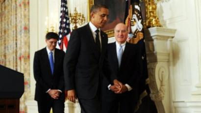 US President Barack Obama (C) leaves after announcing change of his chief of staff at the State Dinning Room of the White House in Washington, DC, on January 9, 2012 as his outgoing chief of staff William Daley (R) and replacement Jacob Lew (L) follow on (AFP Photo / Jewel Samad)