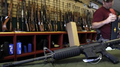 A Palmetto M4 assault rifle is seen at the Rocky Mountain Guns and Ammo store. (Reuters /  Shannon Stapleton)