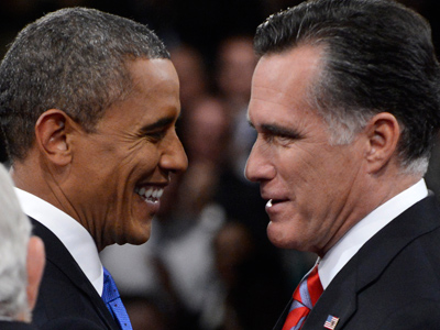 Mitt Romney (R) and Barack Obama (AFP Photo / Michael Reynolds)