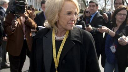 Arizona Republican Governor Jan Brewer speaks to the media as she leaves the North Lawn of the White House in Washington, DC, February 27, 2012 (AFP Photo / Saul Loeb)