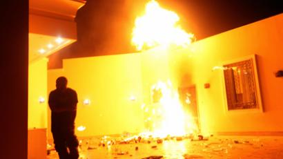 The U.S. Consulate in Benghazi is seen in flames during a protest by an armed group said to have been protesting a film being produced in the United States September 11, 2012 (Reuters / Esam Al-Fetori)