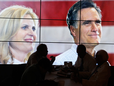 Video screen showing  Mitt Romney and his wife Ann, during the second session of the 2012 Republican National Convention in Tampa, Florida, August 28, 2012 (Reuters / Rick Wilking)
