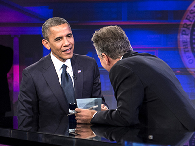 "US President Barack Obama and host Jon Stewart speak during of the ""Daily Show with Jon Stewart"" on October 18, 2012 in New York. (AFP Photo / Brendan Smialowski)"