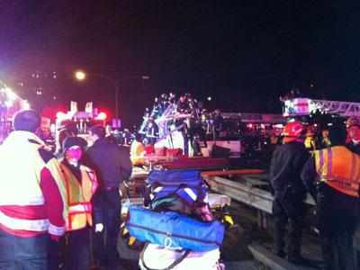 Dozens injured as bus hits low bridge in Boston (PHOTOS)