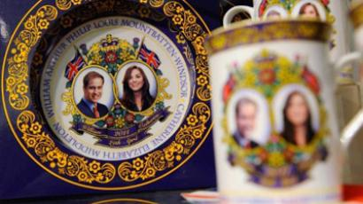Santa Monica: Tea cups and plates with the picture of Prince William, Duke of Cambridge and Catherine, Duchess of Cambridge are displayed at the Tudor House English tea room and bakery on July 7, 2011 in Los Angeles, California. (Kevork Djansezian/Getty Images/AFP)