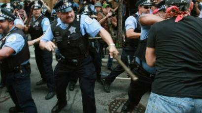 Protesters clash with police at the NATO summit in Chicago on May 20, 2012. Spencer Platt / Getty Images / AFP