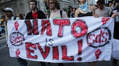 Protesters, some affiliated with the Occupy Wall Street movement, demonstrate in downtown Chicago on the eve of the NATO summit on May 19, 2012 in Chicago, Illinois (Spencer Platt/Getty Images/AFP)
