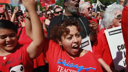 Striking Chicago teachers and their supporters attend a rally at Union Park September 15, 2012 in Chicago, Illinois. (Scott Olson/Getty Images/AFP)