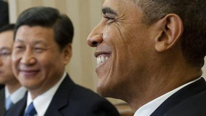 Washington : US President Barack Obama speaks alongside Chinese Vice President Xi Jinping (C) during meetings in the Oval Office of the White House in Washington, DC, February 14, 2012. (AFP Photo / Saul Loeb)