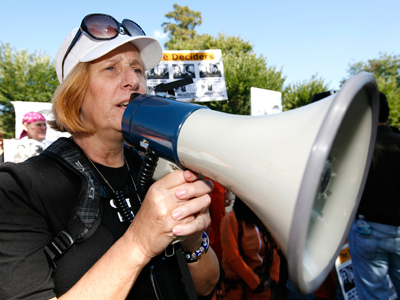 Anti-war activist Cindy Sheehan takes part in a rally in front of the White House in Washington  (Reuters / Kevin Lamarque)