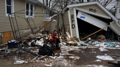 A destroyed home is viewed in Oakwood Beach in Staten Island on February 5, 2013 in New York City.(AFP Photo / Spencer Platt)