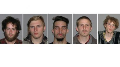 This combination of handout booking photos provided May 1, 2012 by the FBI shows L-R: Connor Stevens, Brandon Baxter, Douglas Wright, Anthony Hayne and Joshua Stafford (AFP Photo / Handout / FBI)